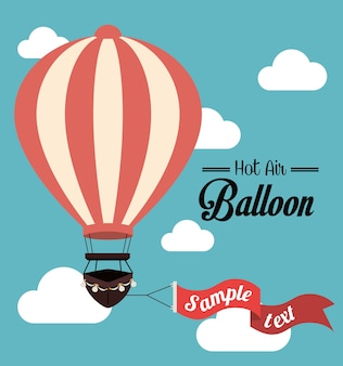 Airballoon projekt nad cloudscape backgroundvector ilustracją