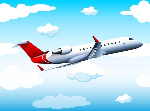 Airplay lecący na niebie w ciągu dnia