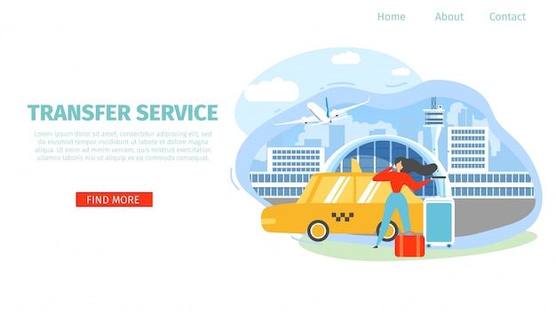 Airport transfer service flat vector landing page