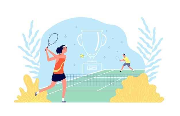 Akademia tenisa. dziewczyna gra w grę sportową. trening fitness sportowców, mężczyzna kobieta rakieta piłka na korcie.