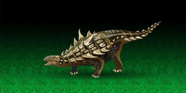 Akantopolis realistyczna ilustracja wektorowa dinozaurów prehistorycznych dinozaurów ankylozaur...