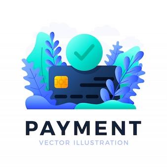 Akceptowane płatności karta kredytowa wektor ilustracja na białym tle. koncepcja udanej transakcji płatności bankowej. przednia strona karty ze znacznikiem wyboru w kole.