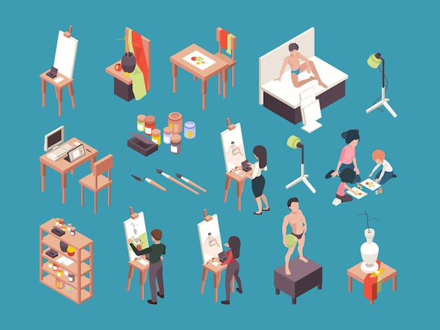Akcesoria artystyczne. ludzie malarze tworzący obraz za pomocą pędzli i tworzący wektory izometryczne. hobby artystyczne lub rzemiosło, ilustracja sprzętu i instrumentów