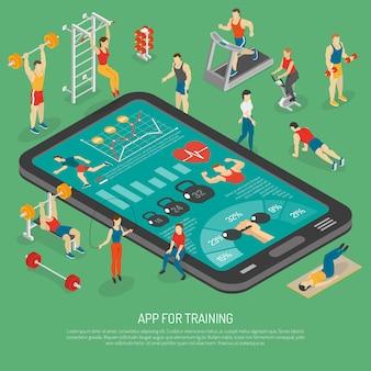 Akcesoria do fitness smartphone aplikacje izometryczny plakat