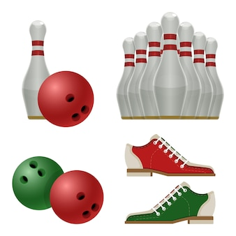 Akcesoria do gry w kręgle, białe kręgle z czerwonym paskiem, buty tenisowe i sprzęt sportowy do piłki, używane do uderzania ilustracji wektorowych szpilki