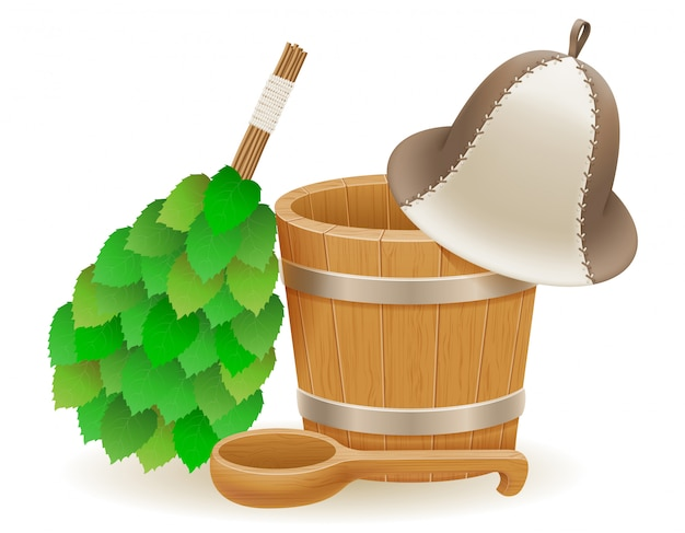 Akcesoria do łaźni parowej lub sauny ilustracji wektorowych