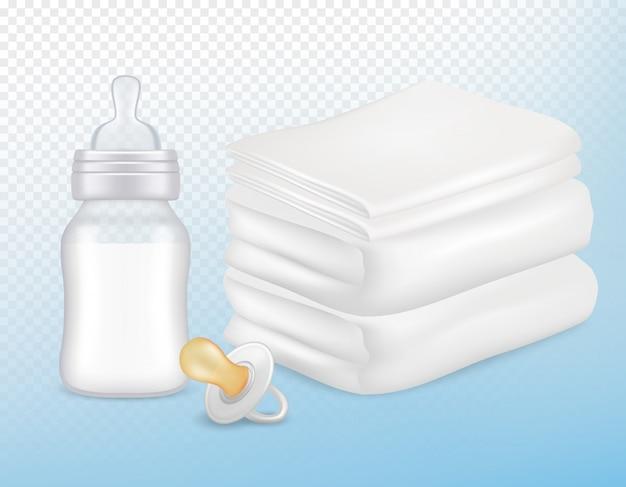 Akcesoria do pielęgnacji niemowląt w realistycznym stylu