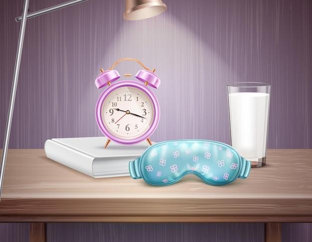 Akcesoria do spania budzik książka i szklanka mleka na nocnym stoliku realistyczna kompozycja