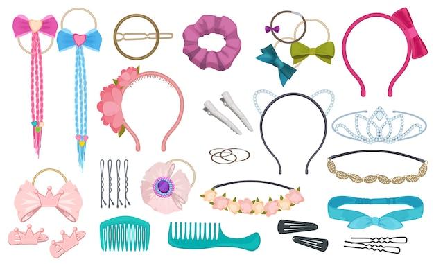 Akcesoria do włosów. kobieta moda klipsy kokardki opaska do włosów elastyczne wstążki dla dziewczynki kreskówki. ilustracja scrunchy i ozdoba na głowę, grzebień i obręcz
