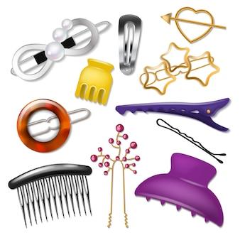Akcesoria do włosów spinka do włosów lub kucyk i spinka do włosów dla dziewczęcej fryzury ilustracja moda realistyczny zestaw klamerki do włosów lub akcesoria fryzjerskie na białym tle