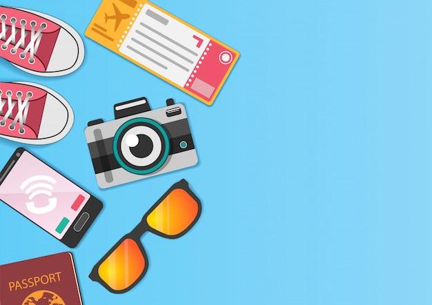 Akcesoria ikona podróży dookoła świata koncepcja lato banner.
