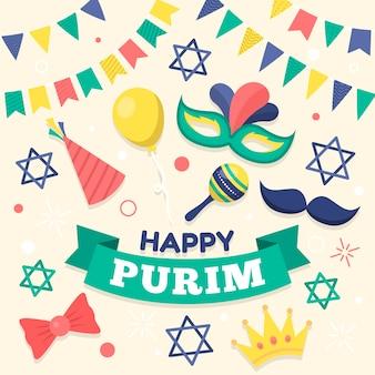 Akcesoria karnawałowe happy purim day