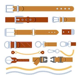 Akcesoria meblowe paski vintage z zapięciami i łańcuszkami. na białym tle stare retro obiekty używane do mocowania zegarków i ubrań. klamry i detale do warsztatu odzieżowego. wektor w stylu płaskiej