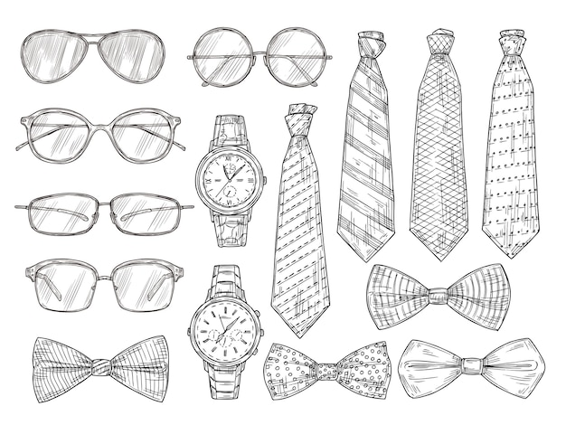 Akcesoria męskie naszkicowane. okulary, zegarki i męskie krawaty i muszka. vintage grawerowanie wektor zestaw. ilustracja szkic człowiek muszka, okulary kolekcji