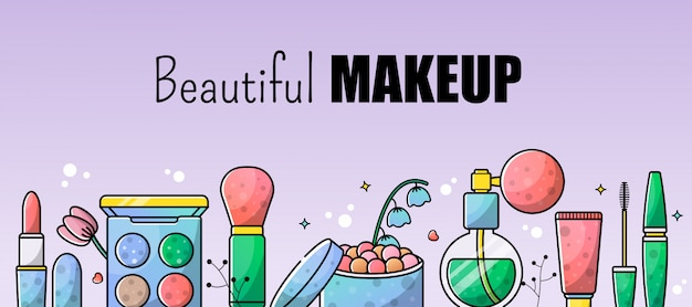 Akcesoria zestaw tło ilustracja makijaż