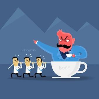 Akcja angry boss dla salaryman w czasie pracy