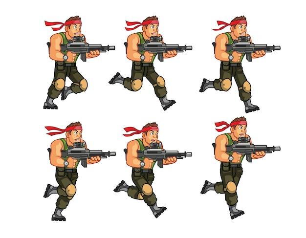 Akcja commando gra animacja postaci sprite
