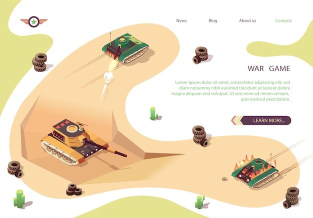 Akcja gra wojenna sztandar izometryczny z bitwą czołgu