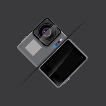 Akcja kamery szary kolor tła