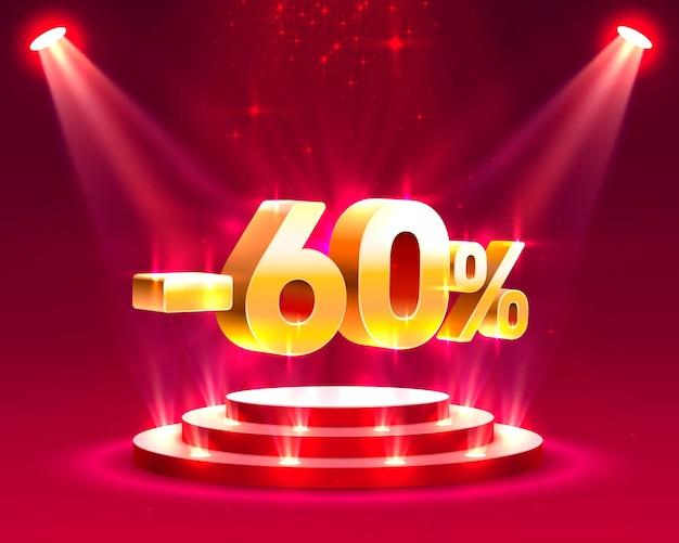 Akcja na podium z procentem zniżki na akcje 60. ilustracja wektorowa vector