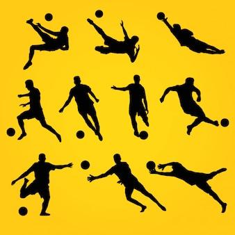 Akcja piłkarska silhoutte