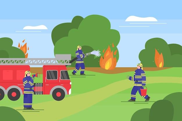 Akcja ratunkowa straży pożarnej w lesie, ilustracja kreskówka płaski. gaszenie sztandaru pożaru za pomocą wozu strażackiego, sprzętu gaśniczego i strażaków w mundurach.