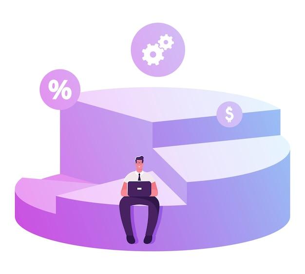 Akcjonariusz biznesmen siedzi na szczycie swojej części wykresu kołowego pracy na laptopie. płaskie ilustracja kreskówka