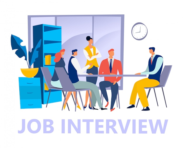 Akcydensowego wywiadu pojęcia freelance męski żeński charakter, osoba patrzeje dla miejsca pracy na białej ilustraci.