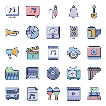 Akcyjne audio płaskie ikony ustawiać