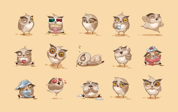 Akcyjne ilustracje odizolowywać emoji charakteru kreskówki sowy majcherów emoticons z różnymi emocjami