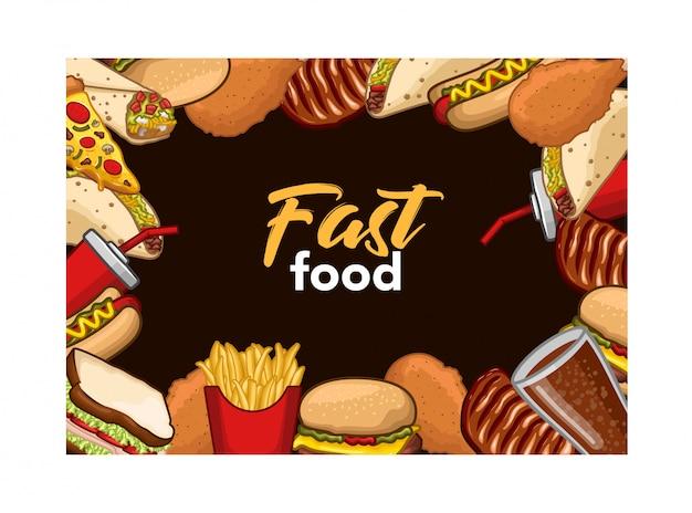 Akcyjny wektorowy set fast food i napój protestuje ilustrację