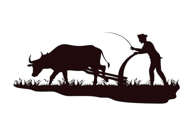 Akcyjny wektorowy sylwetka rolnika orania krowa w polu