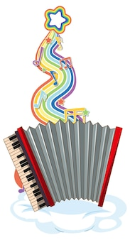 Akordeon z symbolami melodii na fali tęczy