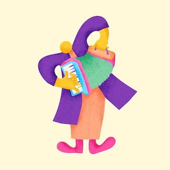 Akordeonista naklejka kolorowa ilustracja muzyka