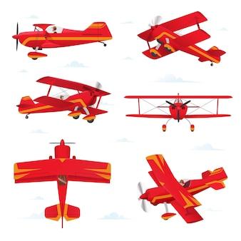Akrobacyjny dwupłatowiec w różnych widokach. ilustracja lekkich samolotów