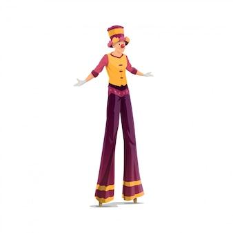 Akrobata na szczudłach artysta klauna
