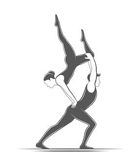 Akrobatyka partnerska. element cyrkowy na białym tle. ilustracja do cyrku
