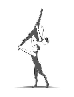 Akrobatyka partnerska. element cyrkowy na białym tle.