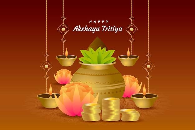Akshaya tritiya wydarzenia ilustracja z roślinami i świeczkami