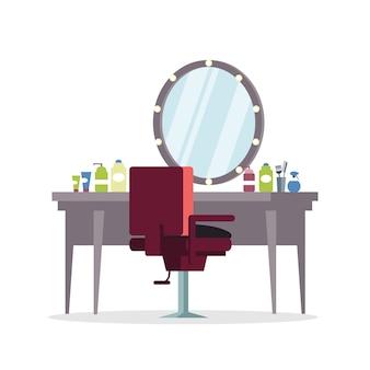 Aktor garderoba, ilustracja fryzjerska. fryzjer, zawód stylisty. fotel i stół fryzjerski z narzędziami fryzjerskimi, wyposażeniem. element profesjonalnej usługi kosmetycznej