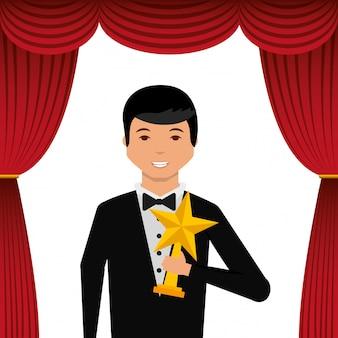 Aktor ma na sobie smoking z nagrodą złota gwiazda