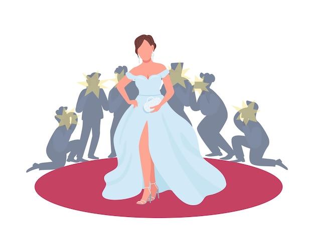 Aktorka w fantazyjnej sukience na ilustracji koncepcja płaski czerwony dywan. premiera filmowa, festiwal. kobieta pozuje do paparazzi postać z kreskówki 2d do projektowania stron internetowych. kreatywny pomysł branży rozrywkowej