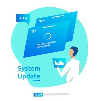 Aktualizacja koncepcji postępu systemu operacyjnego, procesu synchronizacji danych i programu instalacyjnego. ilustracja szablon strony docelowej, baner, prezentacja, interfejs użytkownika, plakat, reklama, promocja lub media drukowane.