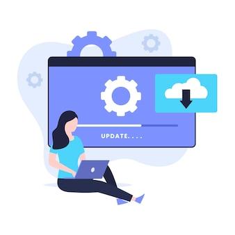 Aktualizacja oprogramowania ilustracja koncepcja projektowania płaskiego. ilustracja do stron internetowych, stron docelowych, aplikacji mobilnych, plakatów i banerów