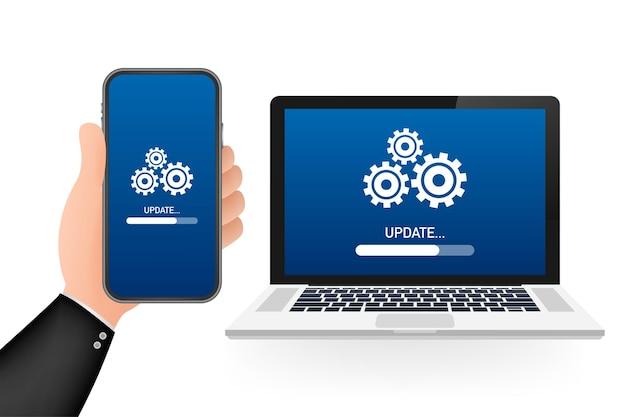 Aktualizacja oprogramowania systemowego, aktualizacja danych lub synchronizacja z paskiem postępu na ekranie. ilustracja wektorowa.