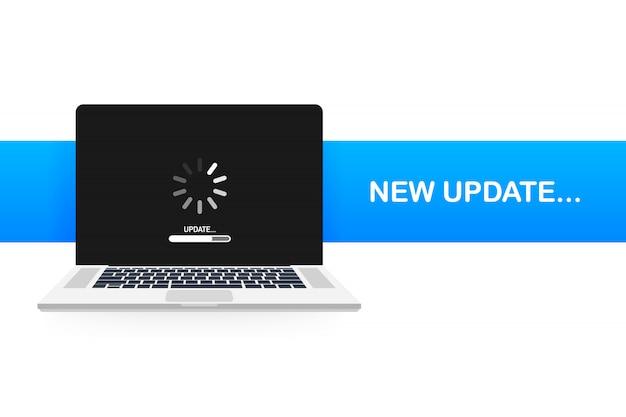 Aktualizacja oprogramowania systemowego, aktualizacja danych lub synchronizacja z paskiem postępu na ekranie. ilustracja