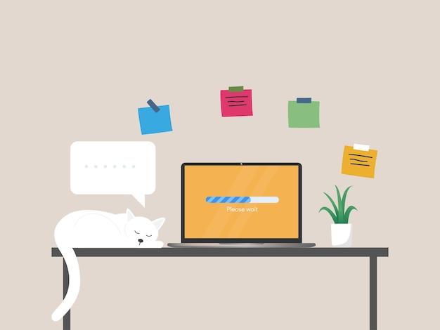 Aktualizacja oprogramowania systemowego proces ładowania na ilustracji ekranu laptopa