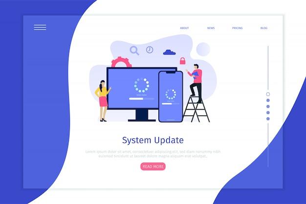 Aktualizacja systemu ilustracji wektorowych koncepcja strona docelowa