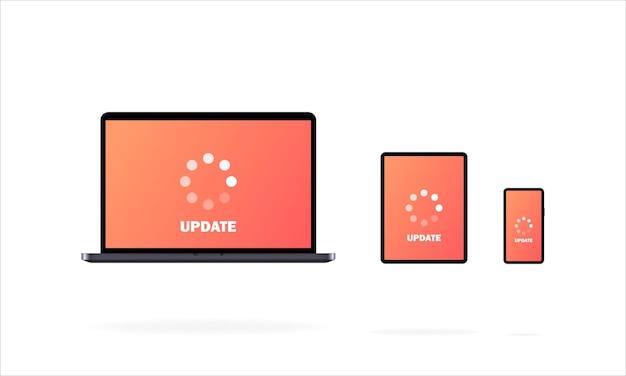 Aktualizacja systemu. laptop, komórka, telefon, tablet. trwa aktualizacja oprogramowania.