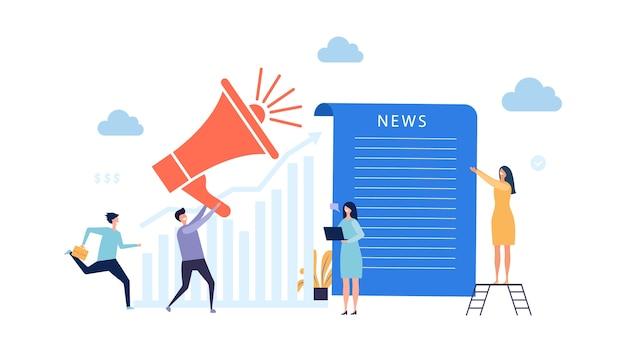 Aktualizacja wiadomości. koncepcja najświeższych wiadomości. reportażowa ilustracja z malutkimi ludźmi. komunikacja z najświeższymi wiadomościami, ludźmi i mediami